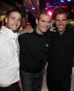 Josh Flagg, Andy Cohen and Madison Hildebrand at Revolution Lounge at the Mirage on June 19, 2011.