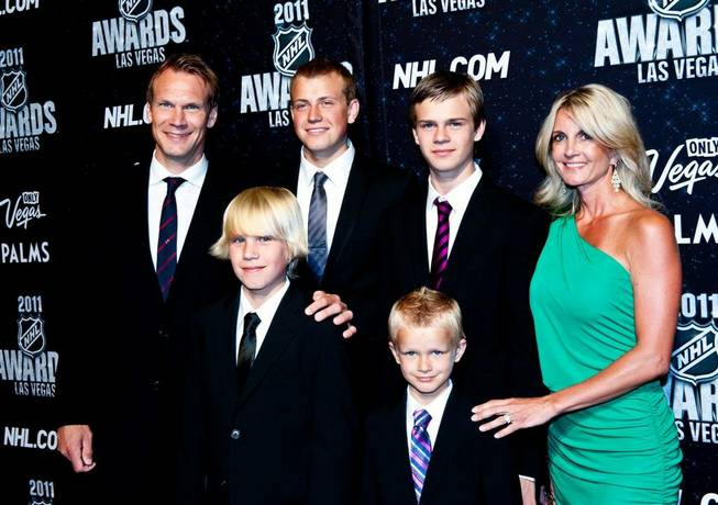 Detroit Red Wings all-star Nicklas Lidstrom and his family at the 2011 NHL Awards at The Pearl in the Palms on June 22, 2011.