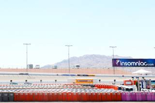 Rows of portable toilets are seen during a media tour of the Electric Daisy Carnival at the Las Vegas Motor Speedway Thursday, June 23, 2011.