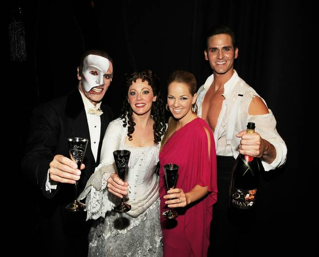 <em>Phantom -- The Las Vegas Spectacular</em> cast members Anthony Crivello, Kristi Holden, Kristen Hertzenberg and Andrew Ragone celebrate five years at the Venetian on June 23, 2011.