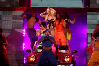 Britney Spears performs during her Femme Fatale Tour at the MGM Grand Garden Arena Saturday, June 25, 2011.