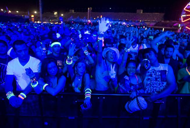 Carnival goers are shown at the kineticFIELD stage during the Electric Daisy Carnival at the Las Vegas Motor Speedway Sunday June 26, 2011.