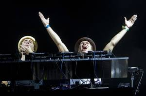The EC Twins of Britain perform during the Electric Daisy Carnival at the Las Vegas Motor Speedway Sunday June 26, 2011.