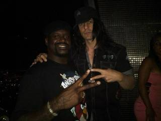 Shaquille O'Neal and Criss Angel at O'Neal's retirement party at Moon in the Palms on June 25, 2011.
