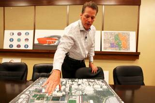 Silverton CEO Craig Cavileer discusses Majestic Realty's latest plans for a new arena/retail/residential project on UNLV's campus in the executive offices at the Silverton on Tuesday, June 28, 2011.