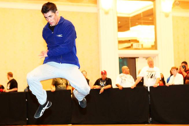 Dominick Cruz works out for the media in preparation for UFC 132 at MGM Grand Wednesday, June 29, 2011.