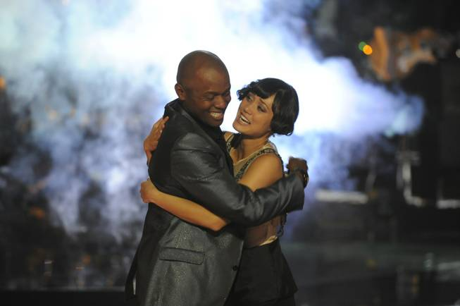 """The Voice"" winner Javier Colon and second-place finisher Dia Frampton during NBC's live finale show Wednesday, June 29, 2011."