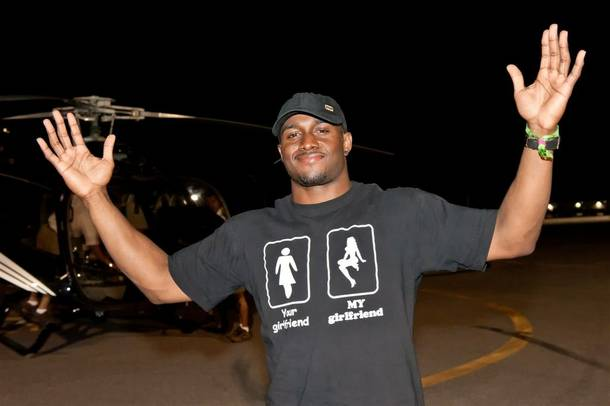Reggie Bush arrives via Maverick helicopter at the Electric Daisy Carnival at Las Vegas Motor Speedway on June 26, 2011.