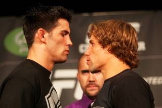 Dominick Cruz (left) and Urijah Faber face off during the press conference Thursday,  June 30, 2011 at MGM Grand in preparation for UFC 132 Saturday night.