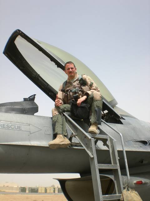 U.S. Air Force Capt. Eric Ziegler poses for a photo during one of his three combat deployments.