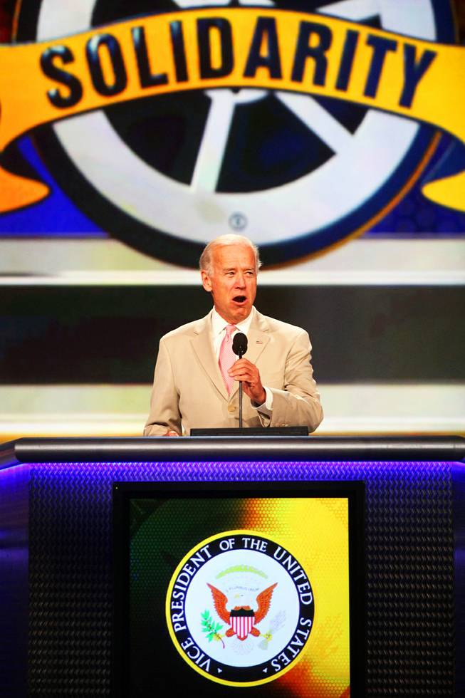 Vice President Joe Biden speaks to thousands of Teamsters gathered for the 28th International Brotherhood of Teamsters at the Paris hotel-casino convention center in Las Vegas Friday, July 1, 2011.