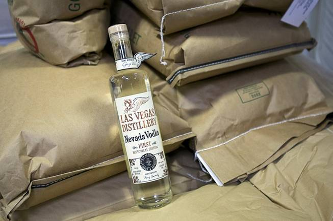 A display bottle of Nevada Vodka rests on sacks of millet at the Las Vegas Distillery in Henderson July 5, 2011.