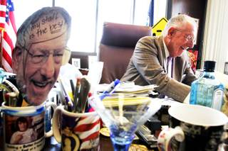Mayor Oscar Goodman at his desk during his second to last day in office at Las Vegas City Hall Tuesday, July 5, 2011.