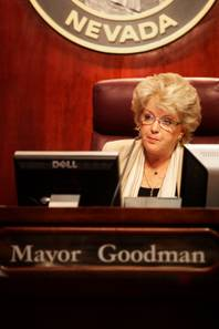 Carolyn Goodman takes the seat as mayor for the first time during the Las Vegas City Council meeting Wednesday, July 6, 2011.
