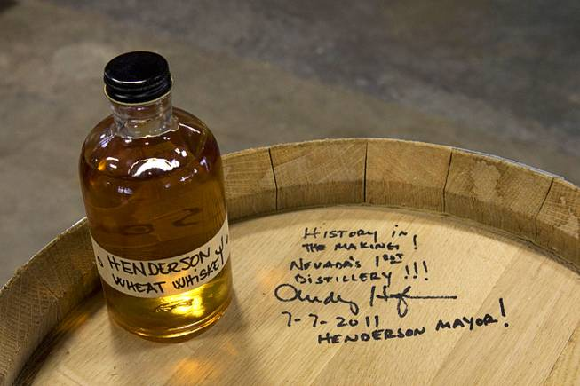 The first barrel of Henderson Wheat Whiskey, signed by Henderson Mayor Andy Hafen, is displayed at the Las Vegas Distillery in Henderson July 7, 2011.