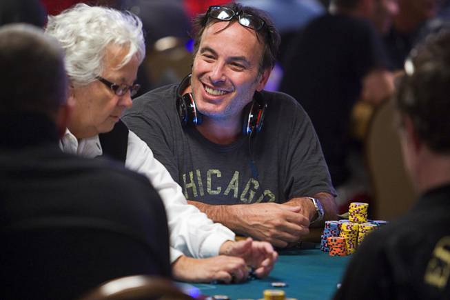 Poker professional Dan Shak competes during the World Series of Poker main event at the Rio Monday, July 11, 2011.