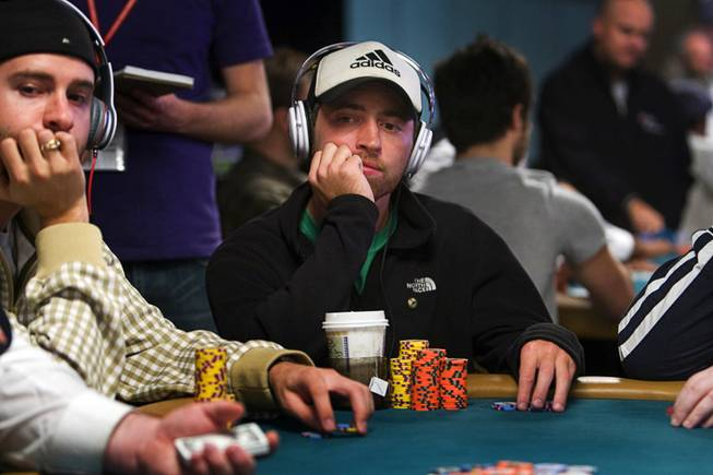 Poker professional Mike Sowers competes during the World Series of Poker main event at the Rio Monday, July 11, 2011.