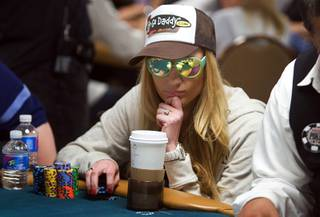 Poker professional Vanessa Rousso competes during Day 2B of the World Series of Poker main event at the Rio Tuesday, July 12, 2011.