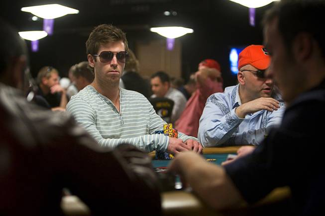 Poker professional John Racener competes during Day 2B of the World Series of Poker main event at the Rio Tuesday, July 12, 2011. Racener finished second in the 2010 main event.
