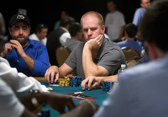Poker professional Erick Lindgren competes during Day 2B of the World Series of Poker main event at the Rio Tuesday, July 12, 2011.