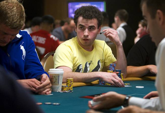 Poker professional Dan Kelly competes during Day 2B of the World Series of Poker main event at the Rio Tuesday, July 12, 2011.