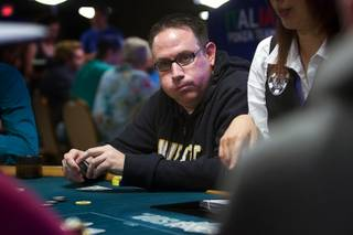 Las Vegas Sun sports editor Ray Brewer plays in the World Series of Poker media tournament at the Rio Wednesday, July 13, 2011.