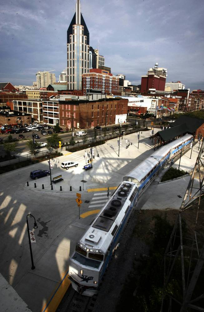 The Music City Star pulls into the Riverfront station in downtown Nashville, Tenn., on the opening day of the new commuter rail service running from Lebanon, Tenn. to downtown Nashville, Tenn., Monday, Sept. 18, 2006.