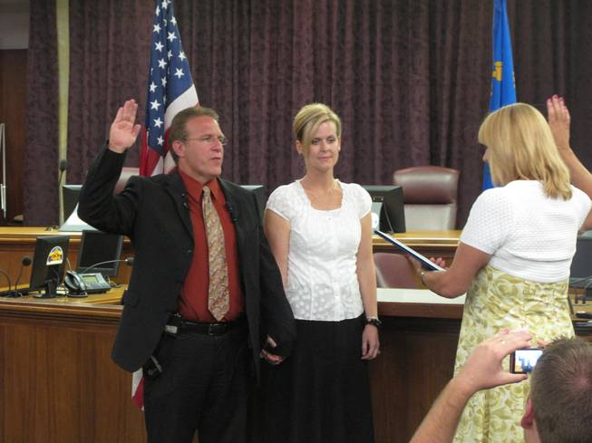 Wade Wagner is sworn in as the North Las Vegas City Councilman representing Ward 4. Wagner's swearing in ceremony Monday night at North Las Vegas city hall took place more than a month after he won the general election by a single vote.
