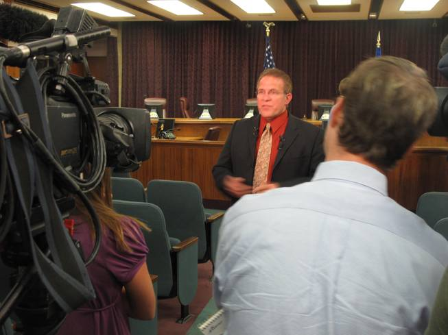New North Las Vegas City Councilman Wade Wagner speaks with the media after his swearing in ceremony Monday night at city hall.