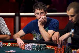Eoghan O'Dea of Ireland competes during Day 8 of the World Series of Poker $10,000 buy-in, no-limit Texas Hold 'em main event at the Rio Tuesday, July 19, 2011.