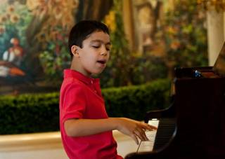 Ten-year-old entertainer Ethan Bortnick at the Las Vegas Hilton on July 21, 2011.