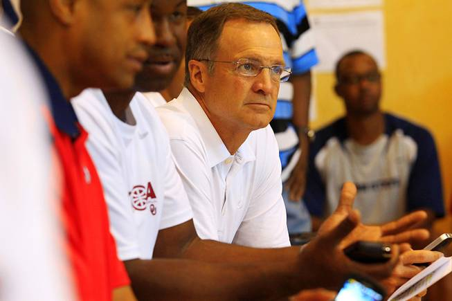 Former UNLV and current Oklahoma coach Lon Kruger watches Nigel Williams-Goss play Friday, July 22, 2011 during the adidas Super 64 tournament at Rancho High. Williams-Goss committed to UNLV, but de-committed when Kruger left for OU.