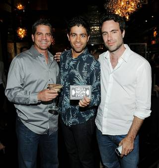 Matthew Cooke, Adrian Grenier and John Loar at Chateau Nightclub & Gardens at the Paris on July 22, 2011.