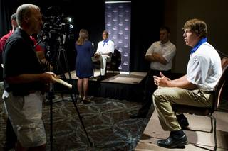 Boise State quarterback Kellen Moore is interviewed during Mountain West Conference media day July 26, 2011, at Red Rock Resort. Moore was Heisman Trophy finalist in 2010.