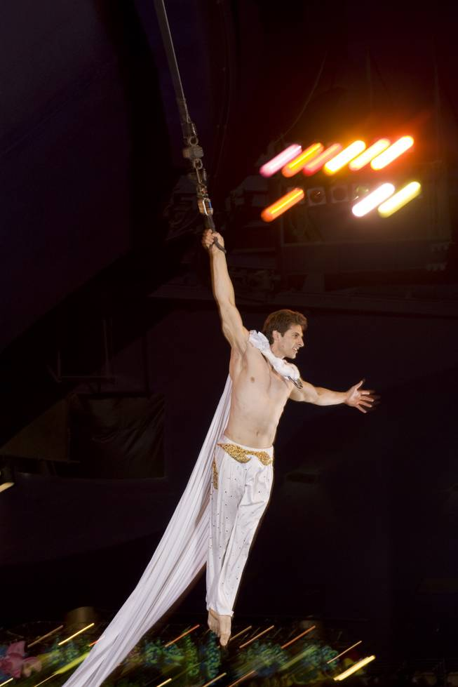 Aerialist Stoyan Metchkarov, 33, performs at the Midway at Circus Circus hotel-casino Tuesday, May 11, 2010.