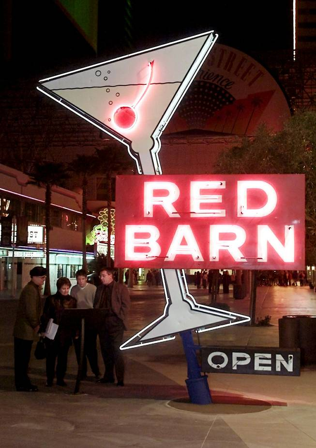 Red Barn bar (circa 1962) sign installed as part of the Neon Museum at Fremont Street Experience.