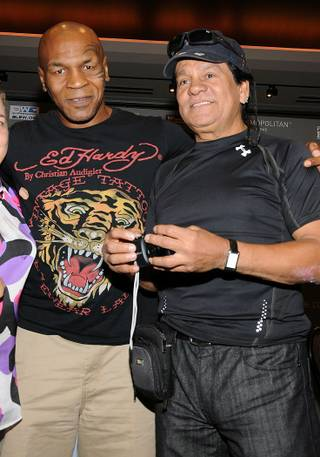 Boxing legends Mike Tyson and Roberto Duran attend the Friday Night Fights press conference at the Cosmopolitan on July 27, 2011.