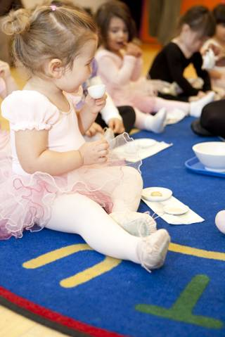 The ballet tea party is one of Kidville's dance classes for children 2 to 5-years-old.