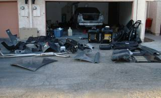 A busted chop shop is shown in Las Vegas from July 2009.
