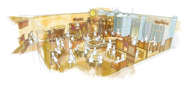 "A rendering of the ""Toddler Town"" interactive exhibit at the new Discovery Children's Museum."