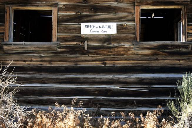 A sign on an abandoned building in Baker on Saturday, Aug. 6, 2011.