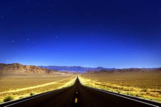 U.S. Highway 50 is seen just after 11 p.m. east of Fallon on Tuesday, Aug. 9, 2011.