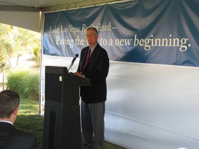 Henderson Mayor Andy Hafen speaks at an event marking the start of construction on Lake Las Vegas Parkway. The $1.8 million road improvement project is expected to be finished in November.