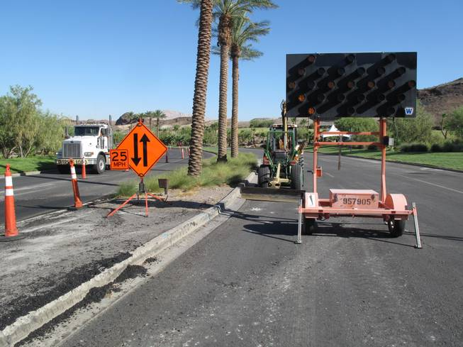 Traffic on Lake Las Vegas Parkway has been reduced to a single lane in each direction while the road undergoes improvements. The $1.8 million project is scheduled to be finished in November.
