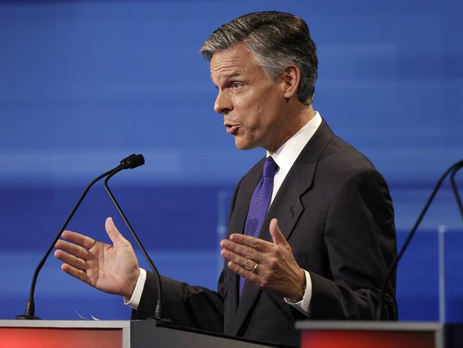 Republican presidential candidate and former Utah Gov. Jon Huntsman speaks during the Iowa GOP/Fox News Debate at Cy Stephens Auditorium in Ames, Iowa, on Thursday, Aug. 11, 2011.
