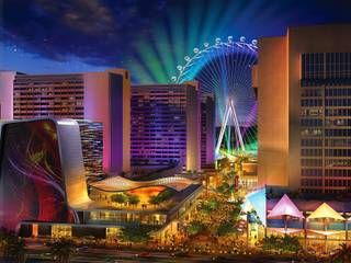 An artist's illustration of Caesars Entertainment's Linq development. The $550 million shopping, dining and entertainment district will be anchored by the 550-foot-tall High Roller observation wheel. The project's first phase is expected to open in late 2013.