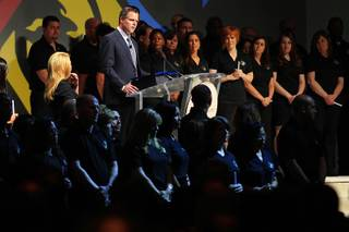 Jim Murren speaks during a memorial service for former MGM Resorts International CEO Terry Lanni on Tuesday, Aug. 16, 2011.