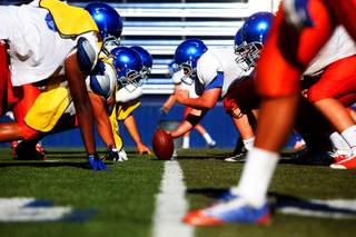 A look at Bishop Gorman football practice Tuesday, Aug. 16, 2011, as the team prepares for its season opener against nationally ranked Chaparral High of Scottsdale, Ariz., on Saturday at the Sollenberger Classic in Phoenix.