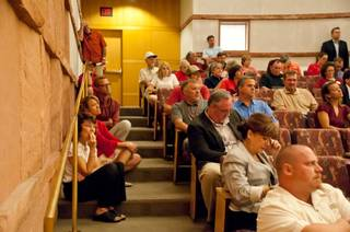 Hundreds show up at the Clark County Government Center on Wednesday, Aug. 17, 2011, to protest a plan by Jim Rhodes to develop some 3,000 acres off Blue Diamond Road near the Red Rock National Conservation Area.