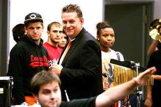 David Wilson, principal of Chaparral High School, listens to band practice on Thursday, Aug. 18, 2011.